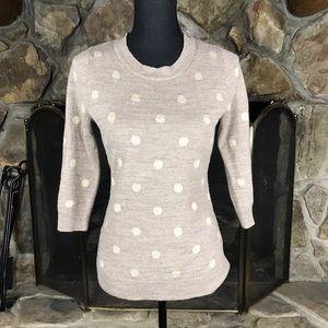 NY & Company   Polka Dot Sweater   Tan   XS